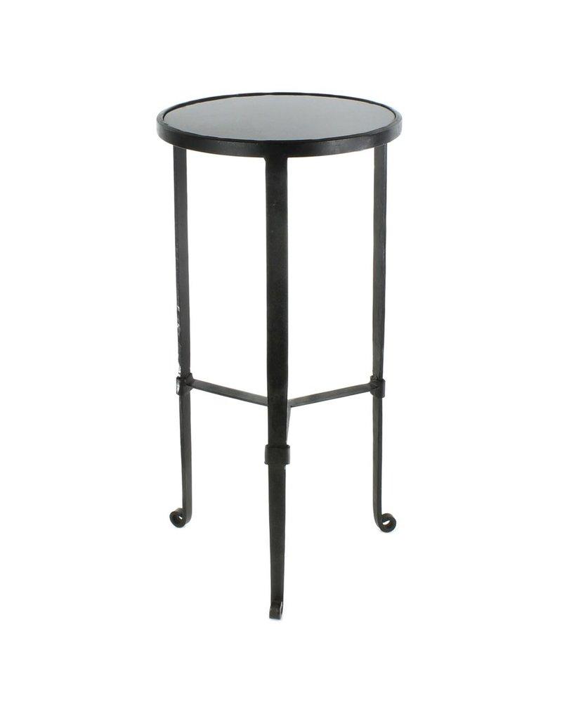 HomArt Savoy Iron & Stone Side Table - Black with Grey Stone