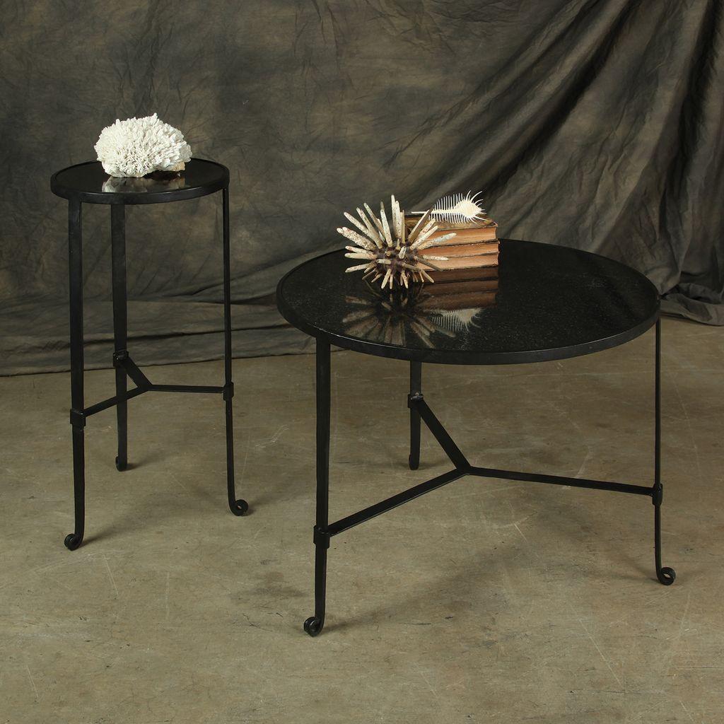 ... HomArt Savoy Iron U0026 Stone Side Table   Black With Grey Stone ...