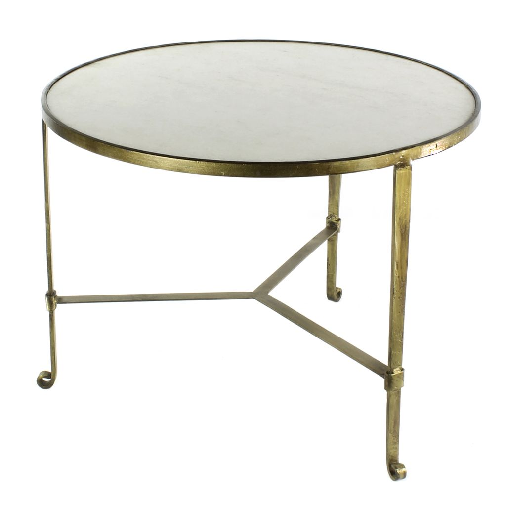 HomArt Savoy Iron Stone Coffee Table Antique Brass With White - Marble and brass end table