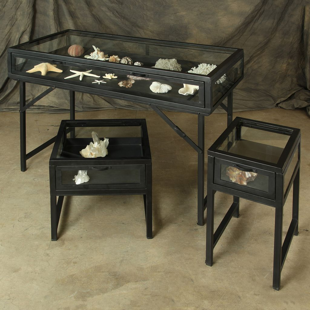 HomArt Curio Iron Side Table - Black Waxed