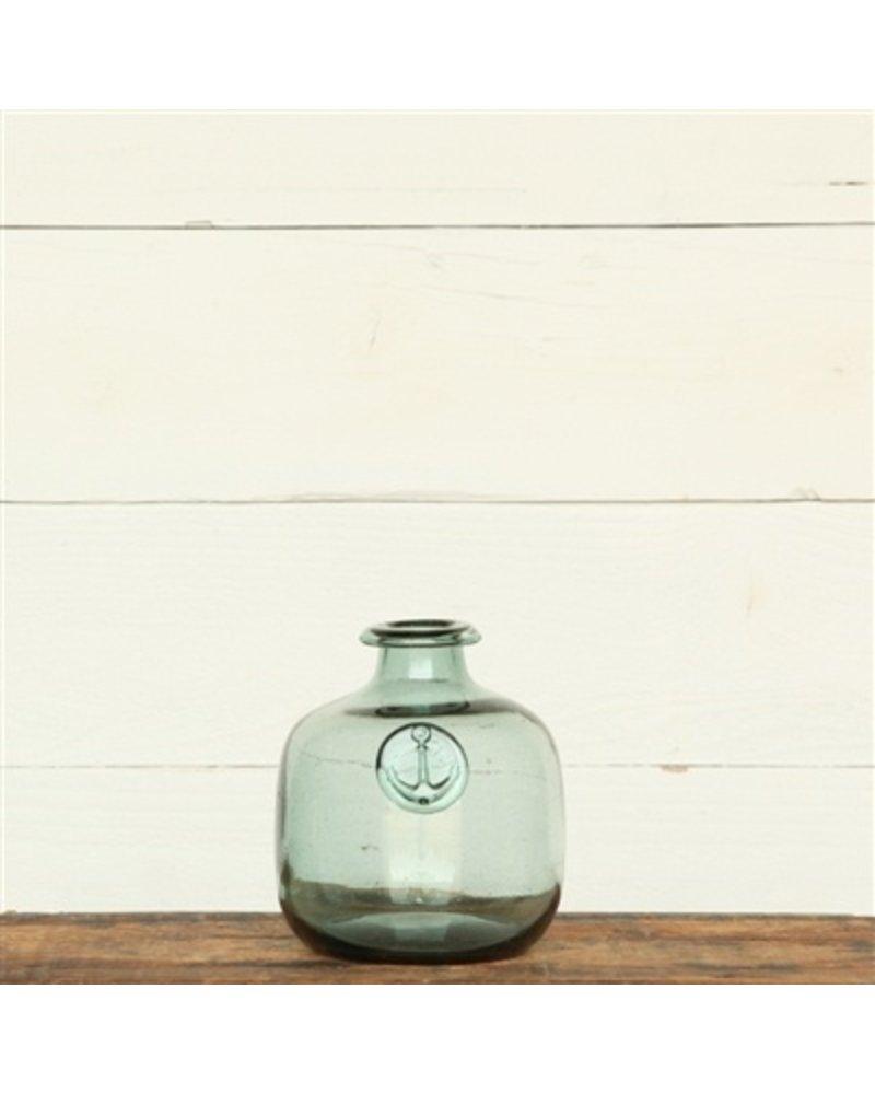 HomArt Anchor Stamped Glass Bottles Sm - Smoke Green