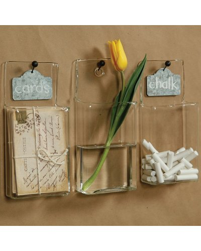 HomArt Wall Pocket - Glass - Rect Clear