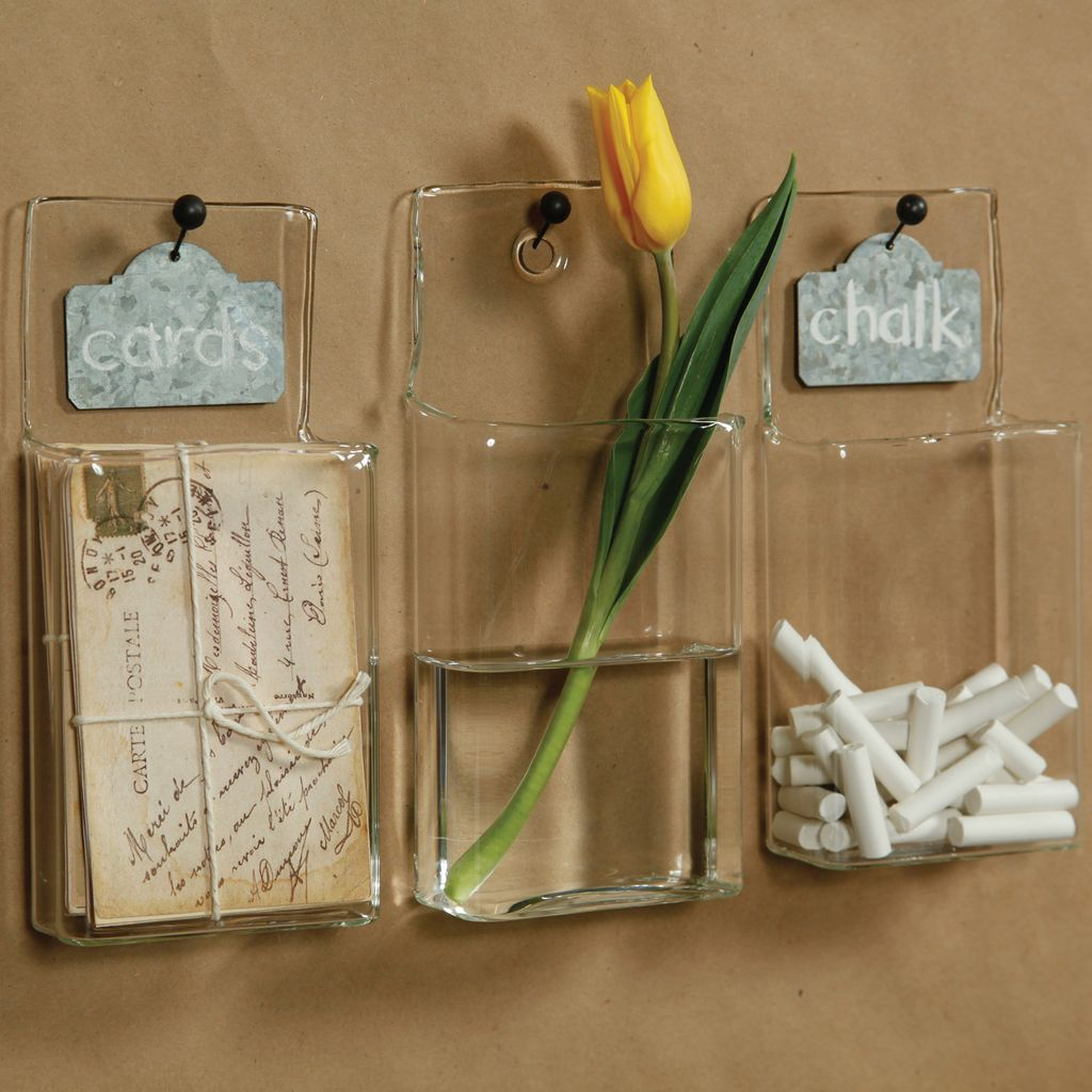 Homart Wall Pocket Glass Rect Clear Areohome
