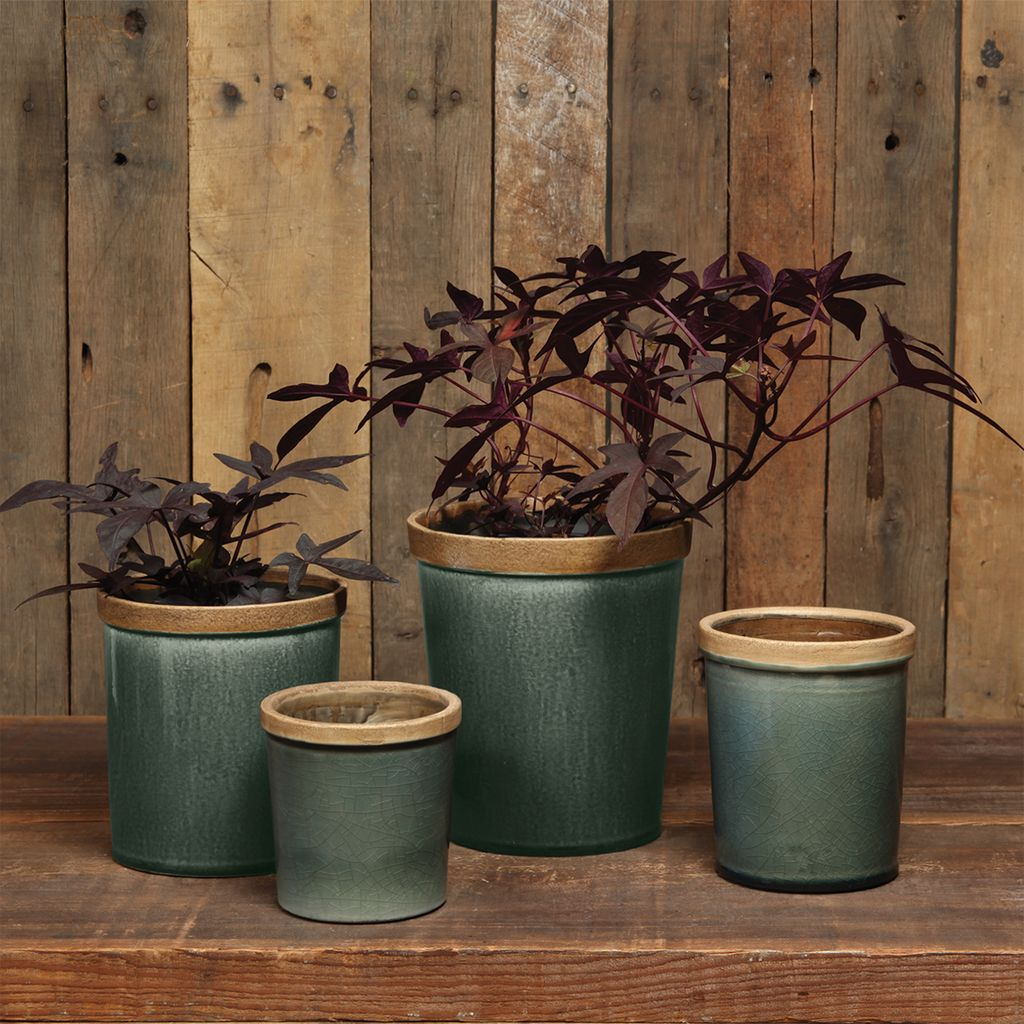 HomArt Baxter Ceramic Cachepots - Lrg Steel Blue