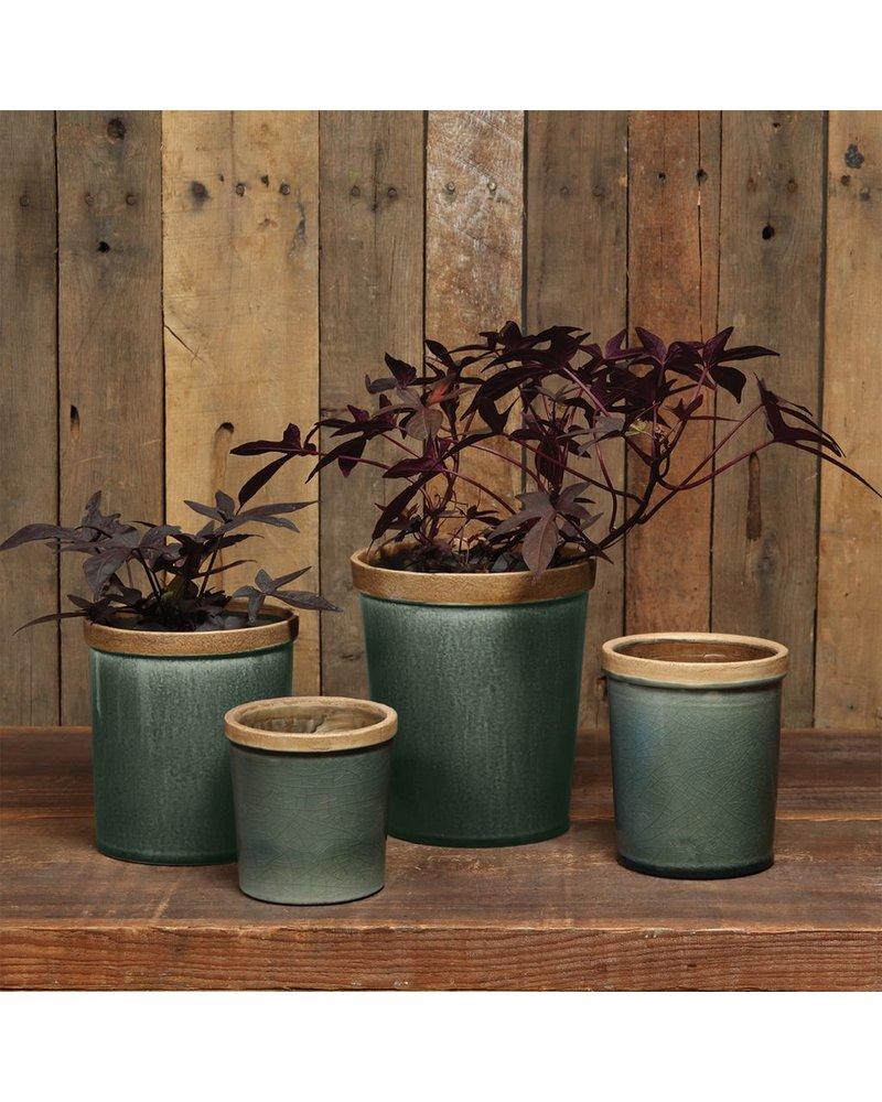 HomArt Baxter Ceramic Cachepots - Sm Steel Blue