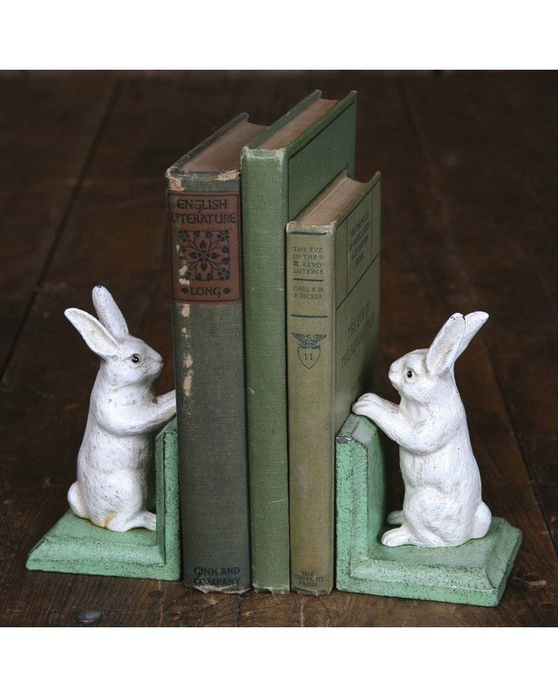 HomArt Bunny Bookends - Cast Iron White