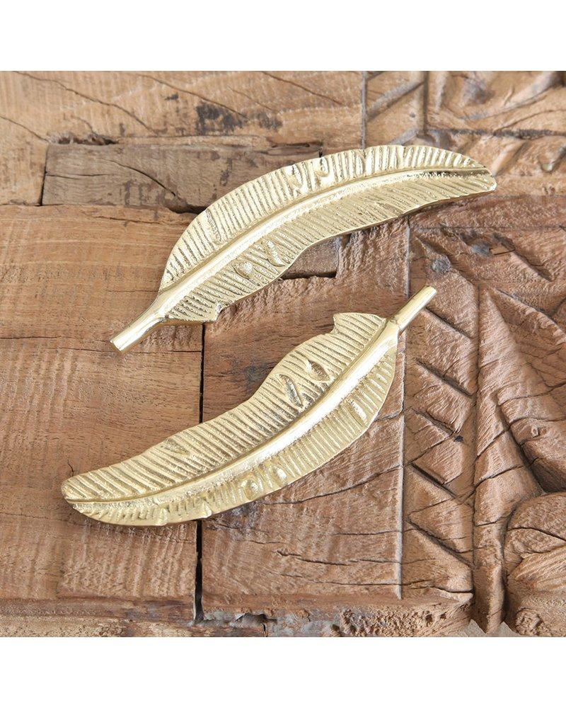 HomArt Cast Metal Brass Feather
