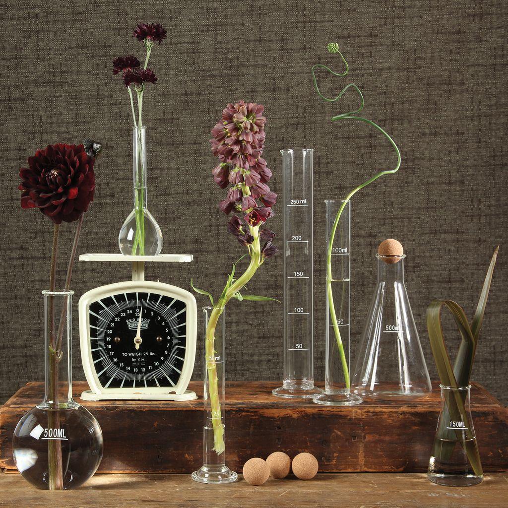 HomArt Chemistry Glass Round Flask Vase - 500ml Clear