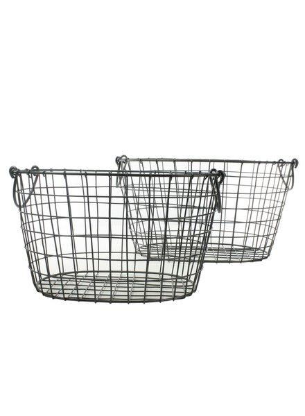 HomArt Darby Metal Baskets - Oval - Set of 2 Natural