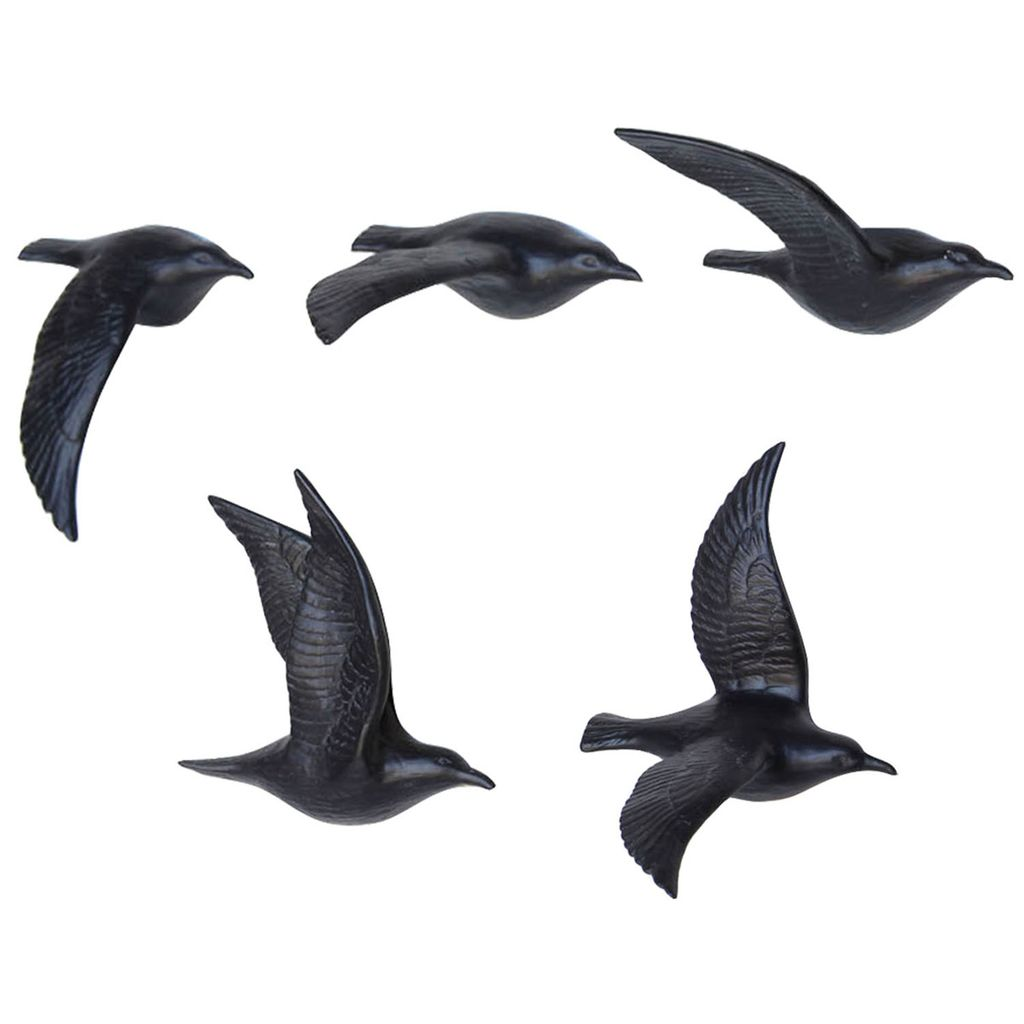 HomArt Flying Gulls - Bone China - Set of 5 Matte Black