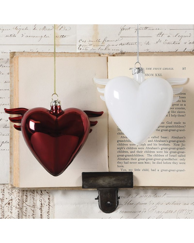 HomArt Glass Winged Heart White