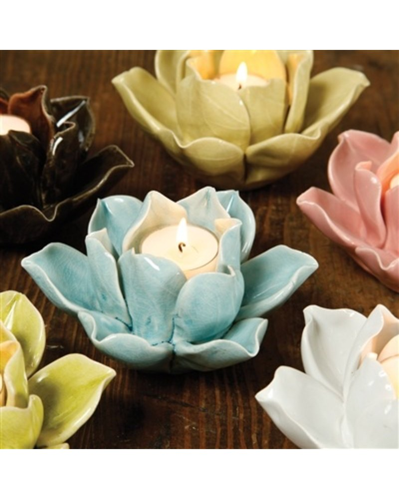 HomArt Lotus Tea Light Holder Brown