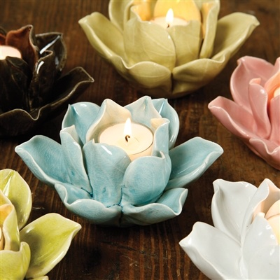 HomArt Lotus Tea Light Holder Brown
