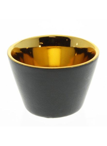 HomArt Raas Black Ceramic Votive Cup - Gold Interior - Low