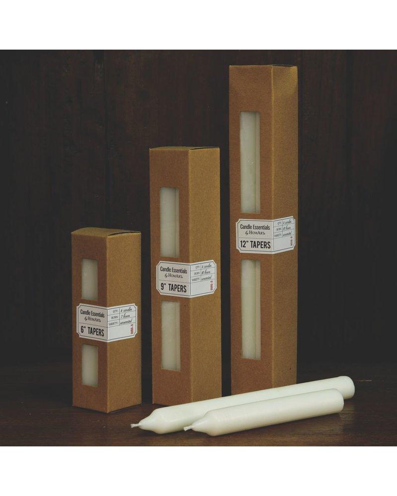 HomArt Taper 9 in - Box of 4 Ivory