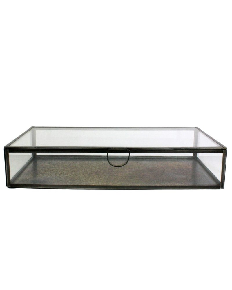 HomArt Pierre Leaded Glass Case - Sm Rect Zinc