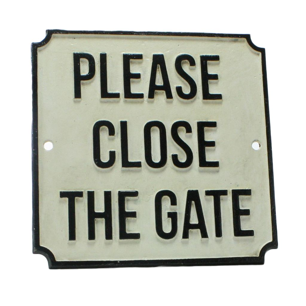 HomArt Cast Iron Sign - PLEASE CLOSE THE GATE