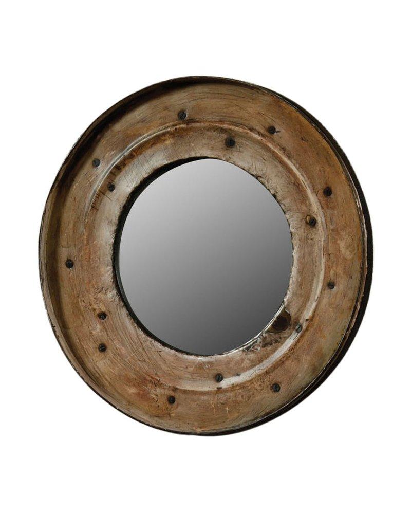 HomArt Reclaimed Metal Drum Lid Mirror White