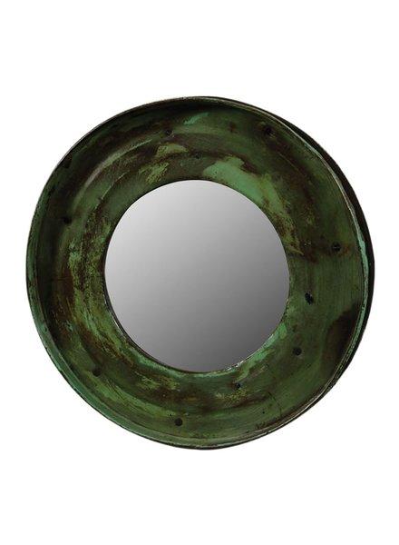 HomArt Reclaimed Metal Drum Lid Mirror Green