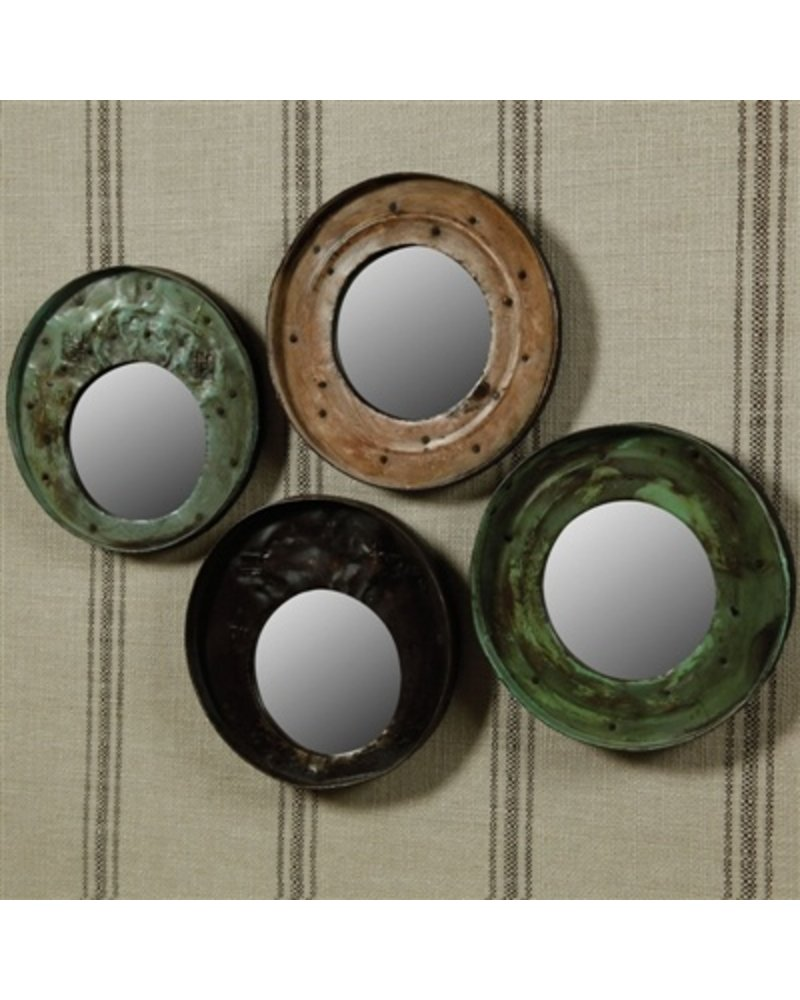 HomArt Reclaimed Metal Drum Lid Mirror Green