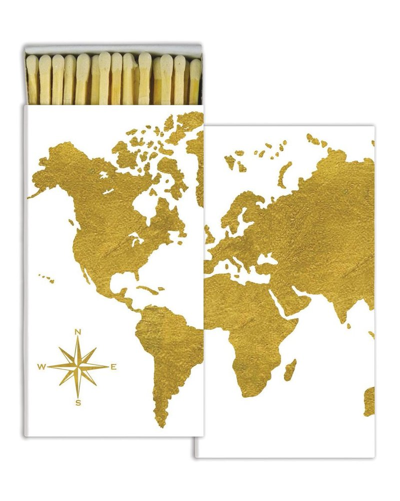 HomArt Gold Foil Continents HomArt Matches - Set of 3 Boxes