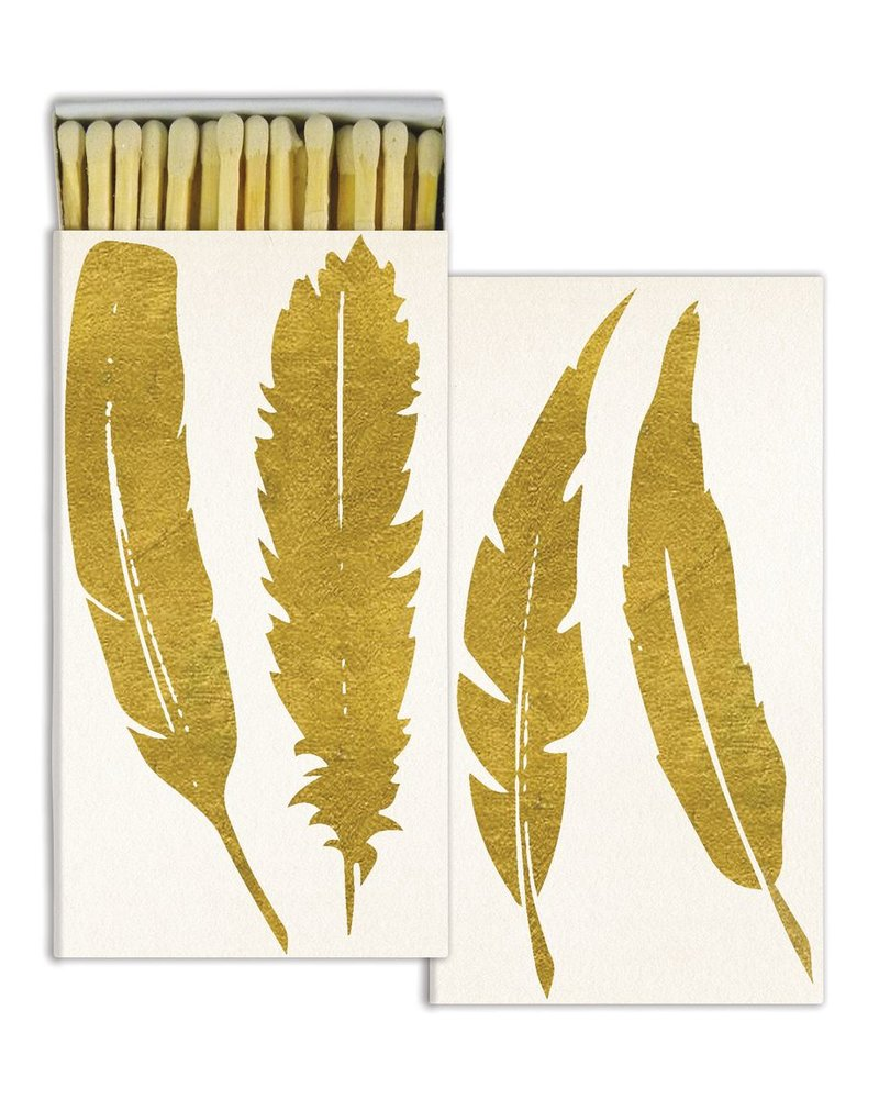 HomArt Gold Foil Feather HomArt Matches - Set of 3 Boxes