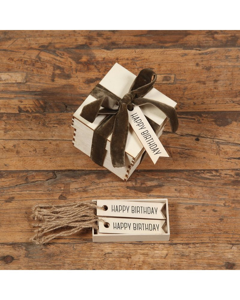 HomArt Gift Wood Hangtag - Box of 12 - Happy Birthday