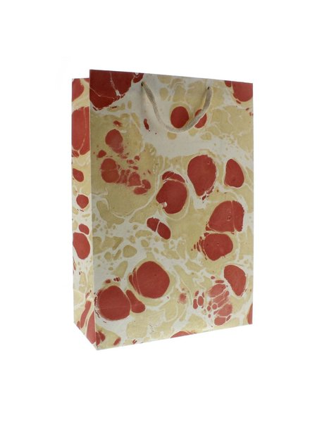 HomArt Marbleized Paper Gift Bag - Lrg-Rose