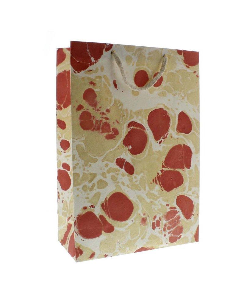 HomArt Marbleized Paper Gift Bag - Lrg-Rose
