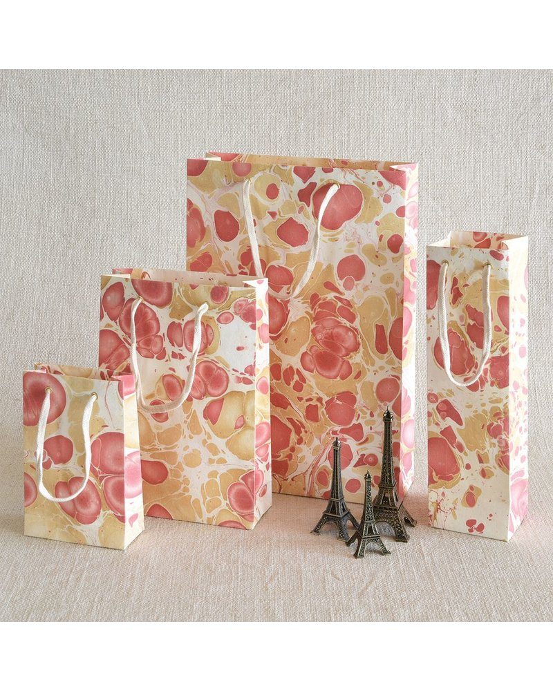 HomArt Rose Marbleized Paper Wine Bag