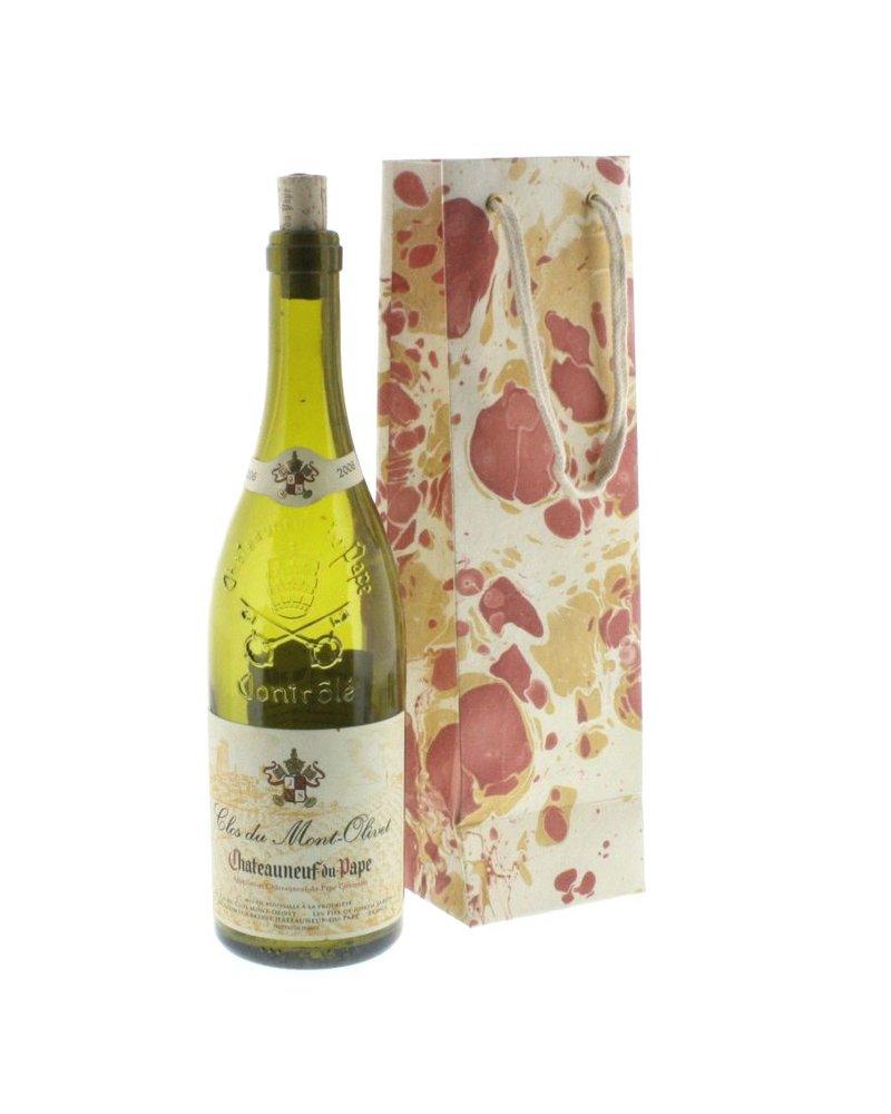 HomArt Rose Marbleized Paper Wine Bag