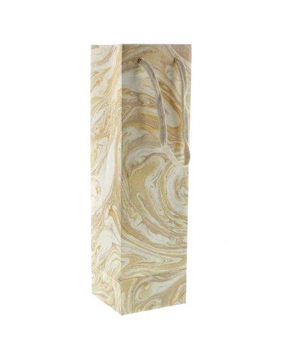 HomArt Gold Marbleized Paper Wine Bag
