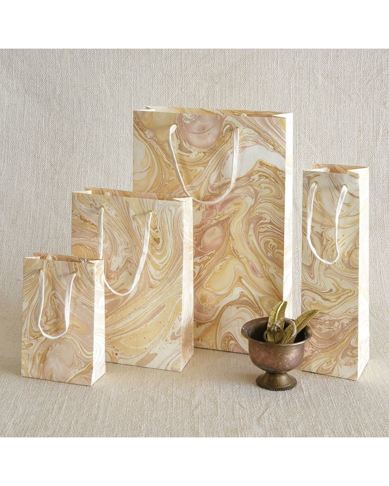 HomArt Gold Marbleized Paper Wine Bag