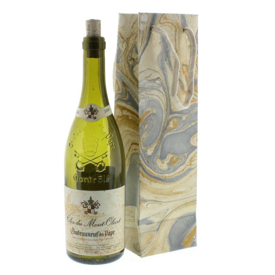 HomArt Blue Marbleized Paper Wine Bag