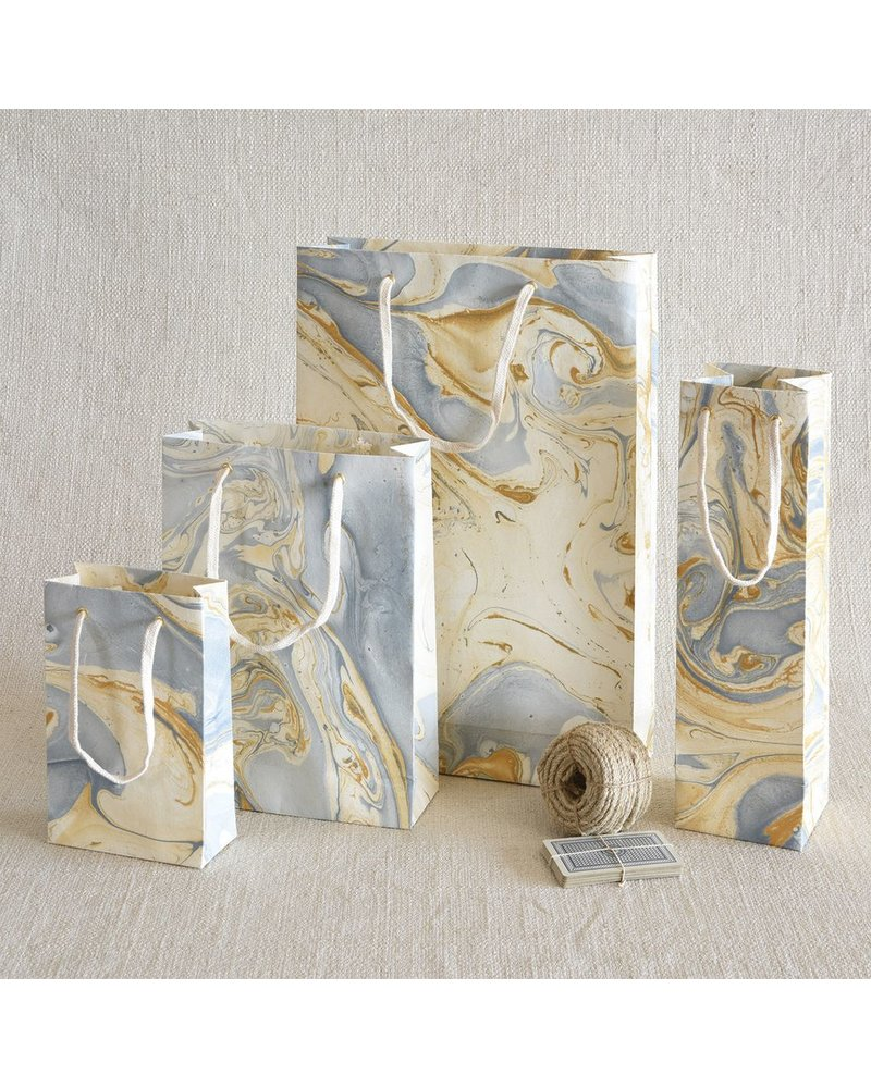 HomArt Blue Marbleized Paper Wine Bag