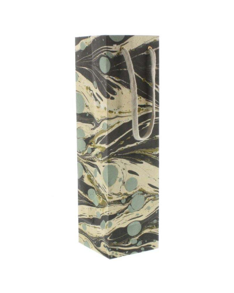 HomArt Aqua Marbleized Paper Wine Bag