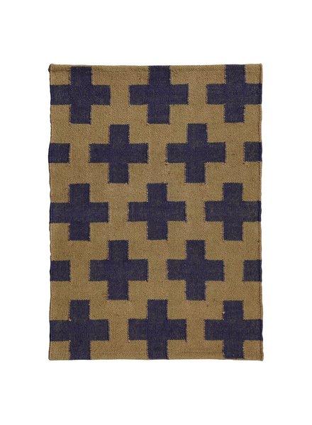 HomArt Heritage Kilim Rug 2x3-Navy / Ivory Plus