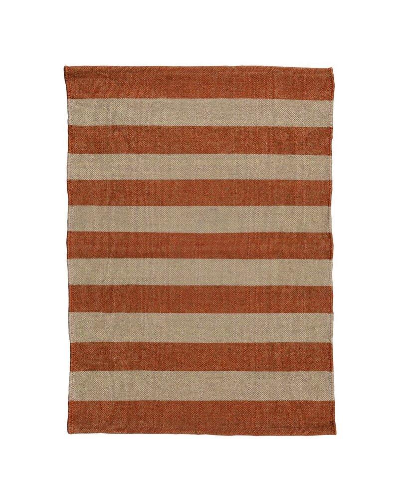 HomArt Seaport Kilim Rug 2x3-Orange / White Stripe