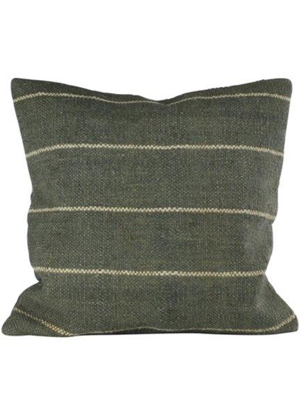 HomArt Seaport Kilim Pillow - Sqr-Slate / White Stripe