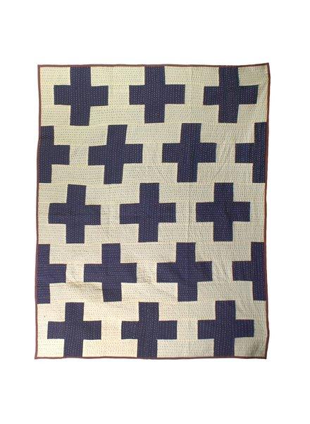 HomArt Heritage Kantha Stitched Throw-Navy / Ivory Plus