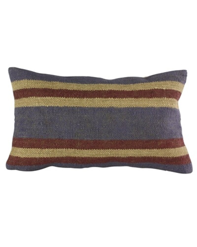 HomArt Heritage Kilim Pillow - Rec-Ivory / Red & Blue Stripe