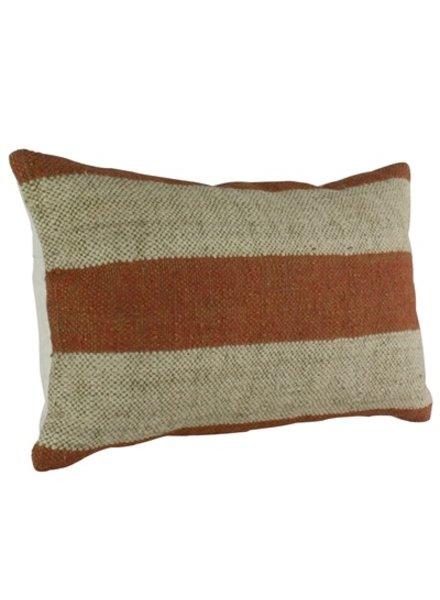 HomArt Seaport Kilim Pillow - Rec-Orange / White Stripe