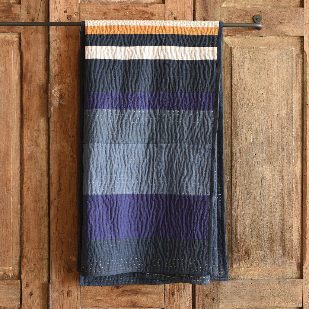HomArt Caravan Kantha Stitched Throw-Indigo Stripe