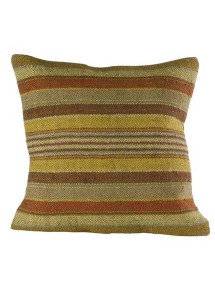 HomArt Caravan Kilim Pillow - Sqr-Saffron Stripe