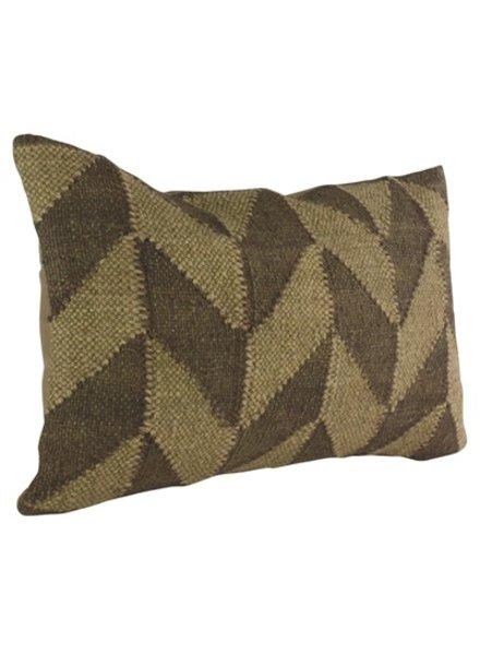 HomArt Heritage Kilim Pillow - Rec-Brown / Ivory Chevron