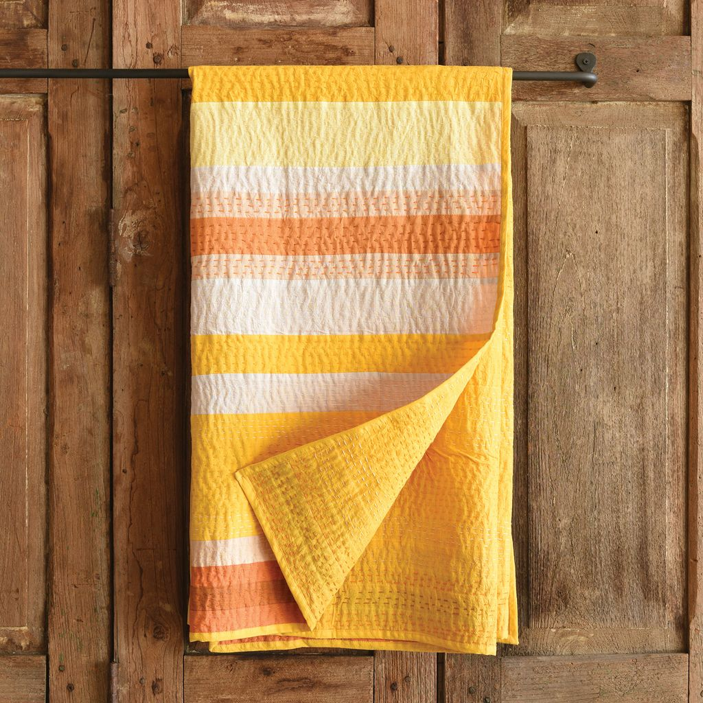 HomArt Caravan Kantha Stitched Throw-Saffron Stripe