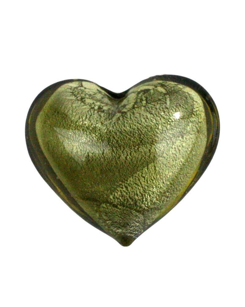 HomArt Venetian Glass Heart Olive Gold (Half Bakers Dozen Online Only)