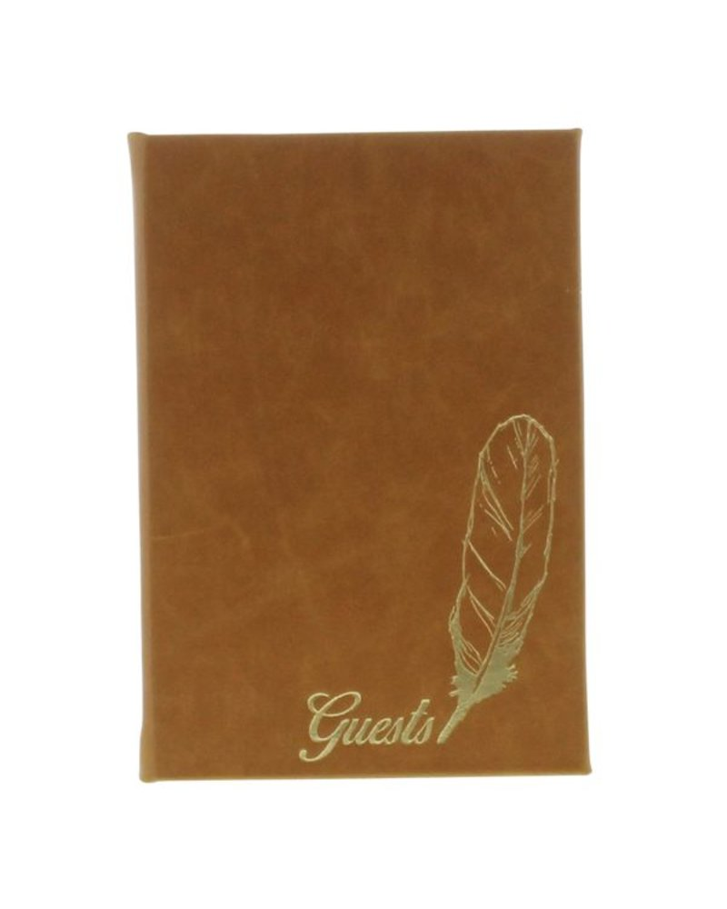 HomArt Embossed Durable Faux Leather Guest Book - Guests