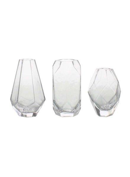 HomArt Geo Trio Glass Vase - Set of 3 Asst