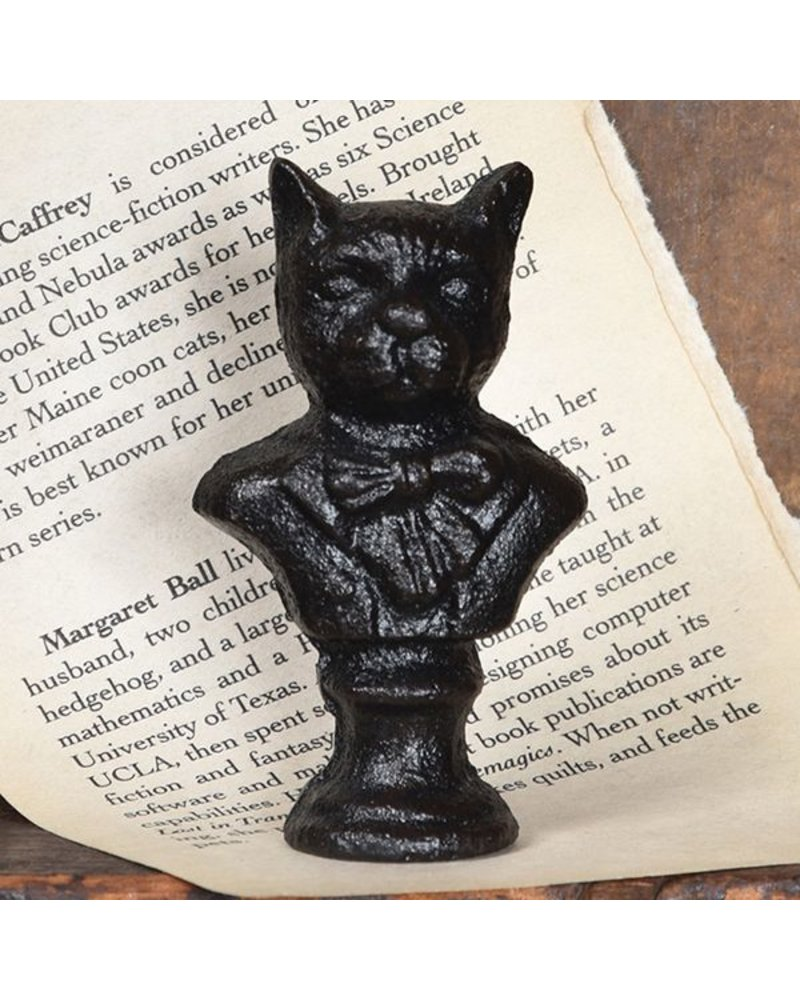 HomArt Cast Iron Cat Bust Statue